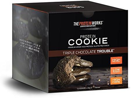 Protein Cookies / TRIPLE CHOCOLATE TROUBLE / von THE PROTEIN WORKS / 12er Box / Nur 3g Zucker und vollgepackt...