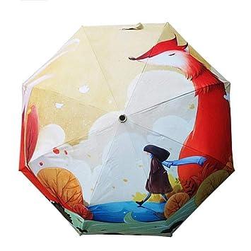 WFCUP Linda Ilustración Fox Chica Parasol Plata Pegamento Protector Solar Protección UV Paraguas Paraguas Sol y