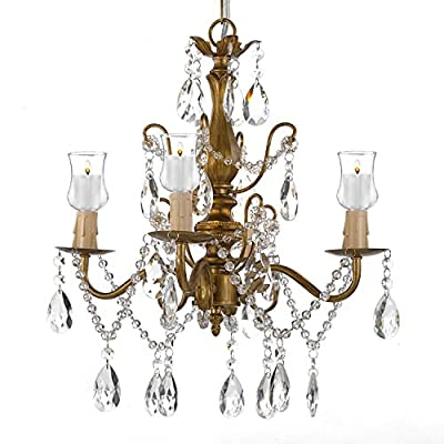Wrought Iron & Crystal 4 Light Gold Chandelier Lighting For Indoor/Outdoor Use Great for Outdoor Events ! Hardwire and Plug In