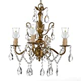 Wrought Iron & Crystal 4 Light Gold Chandelier Lighting For Indoor/Outdoor Use Great for Outdoor Events ! Hardwire and Plug In Review