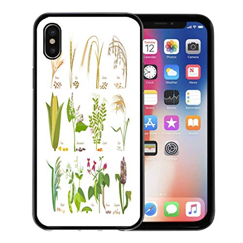 Emvency Phone Case for Apple iPhone Xs Case/iPhone X Case,Cereals and Legumes Grain Plants Leaves Flowers Seeds Wheat Soft Rubber Border Decorative, Black