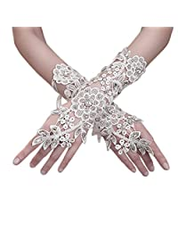 Elegant Bride Fingerless Lace Bridal Gloves With Appliques Sequin White Ivory Wedding Gloves