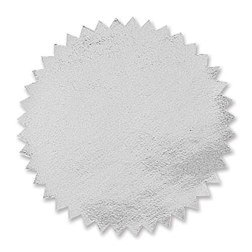 Plain Silver Foil Embossing Serrated Edge Certificate Seals, 2 Inch, Self Adhesive, 102 per Pack