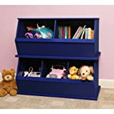 Stackable Three-Bin Storage Cubby, Blue, Great for Kids when Learning to Sort, Organize, and Clean-up, Made with a Non-toxic Finish, Solid Panel Construction, Bundle with Expert Guide for Better Life