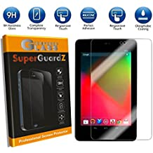 For Google Nexus 7 (1st Gen, 2012 Release) - SuperGuardZ Tempered Glass Screen Protector [9H, Anti-Scratch, Anti-Bubble] + Multi-Function LED Stylus Pen