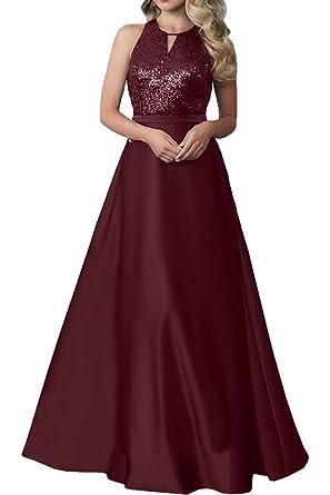 Royaldress Burgundy Satin Pailletten Lang Abendkleider Ballkleider  Partykleider Bodenlang A-linie Rock-32 Burgundy