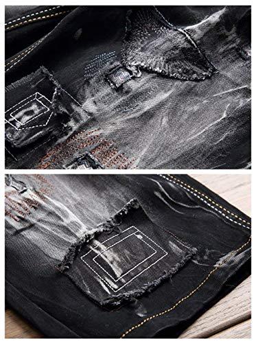 Bicchierini Slim Denim Pantaloncini Vintage Uomo Giovane Jeans Bianca In Da Corti Fit Fashion Strappati Saoye ZaFyq7w5