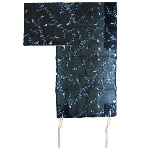 Yair Emanuel Blue Floral Design Organza Tallit Set 20