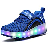 VMATE LED Light Up Roller Skate Shoes Blink Double Wheel Shoes Fashion Sports Flashing Sneaker Boys Girls Kid