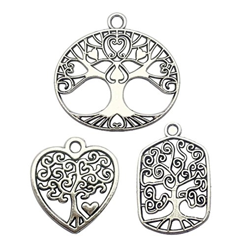 60 PCS Tree of Life Charms Collection - Mixed Antique Silver Colors Round Heart Oval Tree Metal Alloy Pendants for Jewelry Making DIY Findings (HM96)