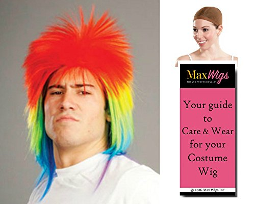 [Bundle 3 items: Rainbow Punk Rocker Clown Wig Parade Mardi Gras Spiky Halloween Cosplay Enigma Wigs, Wig Cap, MaxWigs Costume Wig Care Guide] (Hollywood Halloween Costumes Parade)