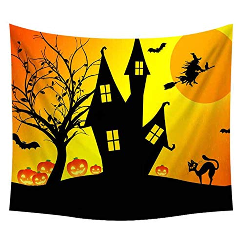 DaySiswong Halloween Tapstry, Hanging Bat Pumpkin Printed Tapestry Home Decor for Outdoor Indoor Room Decoration