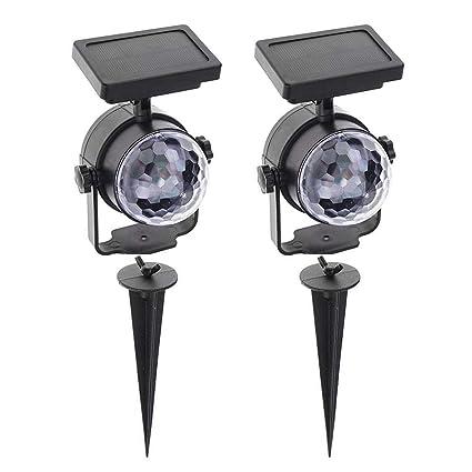 Amazon.com: Proyector de luz LED solar de color giratorio ...