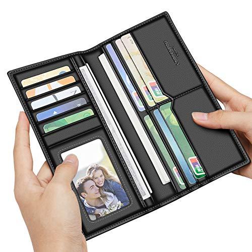- LAORENTOU Men Genuine Cow Leather Wallet Long Purse Card Holder N55 (Black1)