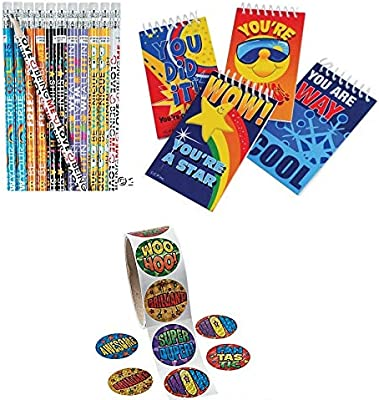 148 Piece Student Motivational Pack~Be You Inspirational Pencils~Student Mini Spiral Notepads~Foil Incentive Stickers~Classroom//Teacher Supplies~Student Incentives