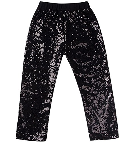 Messy Code Baby Girls Sequin Pants Leggings Kids Pants Clothes for Toddlers black 4-5t (Clothing Toddler Black Kids)