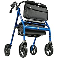Hugo Elite Rollator Walker with Seat, Backrest and Saddle Bag, Blue