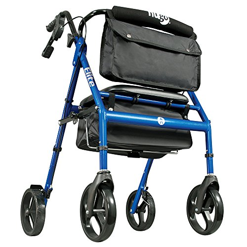 4 Wheel Rolling Walker - Hugo Elite Rollator Walker with Seat, Backrest and Saddle Bag, Blue