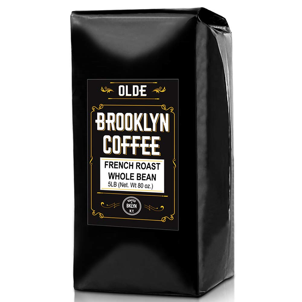 FRENCH ROAST Whole Bean Coffee - 5LB Bag | For A Classic Black Coffee, Breakfast, House Gourmet, Italian Espresso - Roasted in New York by OLDE BROOKLYN COFFEE