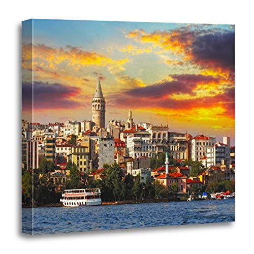 - Semtomn Canvas Wall Art Print Blue Bosphorus Istanbul at Sunset Galata District Turkey Panorama Artwork for Home Decor 20 x 20 Inches