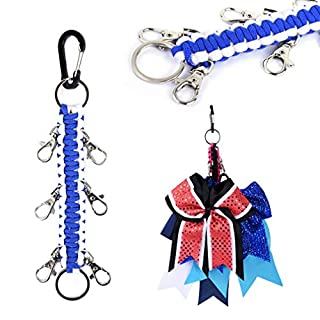 DEEKA Paracord Handmade Cheer Bows Holder for Cheerleading Teen Girls High School College Sports - Royal Blue/White