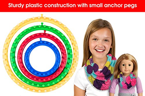 [Pack Multi-Size Round Knitting Loom Set for Kids Who Crave a No Skills Required, Safe Way to Craft Quick, Easy Fashions. Imagine the Possibilities! 1000s of Free Knitting Loom Instructions Online] (Free Knitting Scarf)