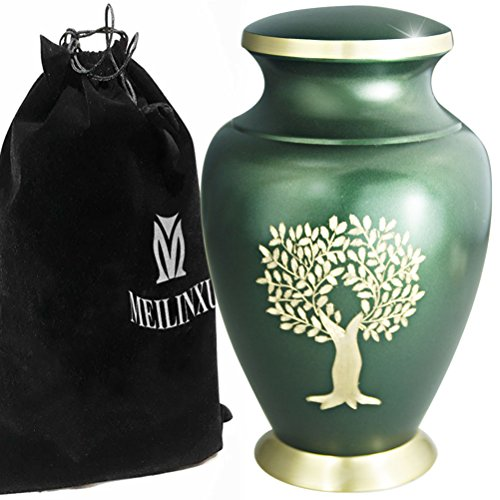 (Funeral Cremation Urn for Ashes - Large Urns for Human Ashes Adult or Memorial Dog Urn - Brass with Hand Engraved Design- Display Burial Urn At Home or in Niche at Columbarium (Gold Tree of Life/Green)