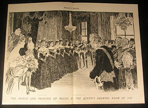 Prince Princess of Wales Queens Drawing Room 1901 antique historic print