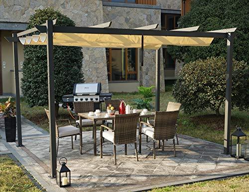 (Kozyard Atlantics Outdoor 10'x13' Extra Large BBQ Grill Pergola with Sun Shade Gazebo Canopy Beige Canopy,UV Resistant Fabric, )