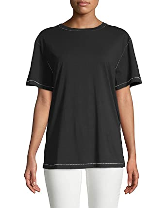 8e4db5b93 Image Unavailable. Image not available for. Color: Helmut Lang Womens  Contrast Stitch T-Shirt ...