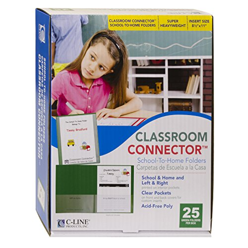 C-Line Classroom Connector School-to-Home Folders, Green, 25 per Box (32003) ()