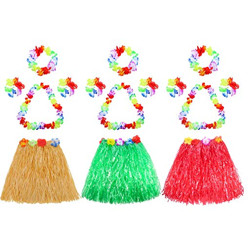Gejoy 3 Set Assorted Color Kid's Elastic Hawaiian Hula Dancer Grass Skirt with Flower Leis Set -