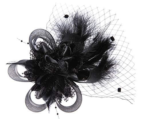 Coolr Fascinator Hair Clip Feather Wedding Headwear Bridal Headpiece for Women (A Black)