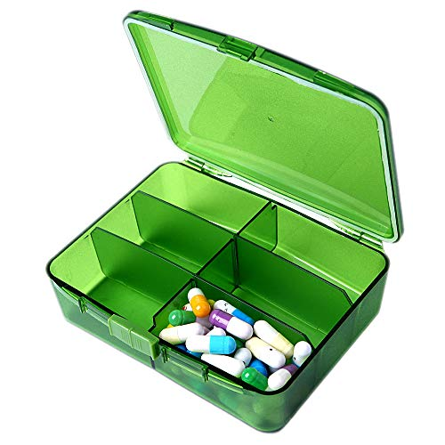 XINHOME 6 Compartment Pill Box Holds Up to 200 Tablets Gasketed & Waterproof (Green) ()