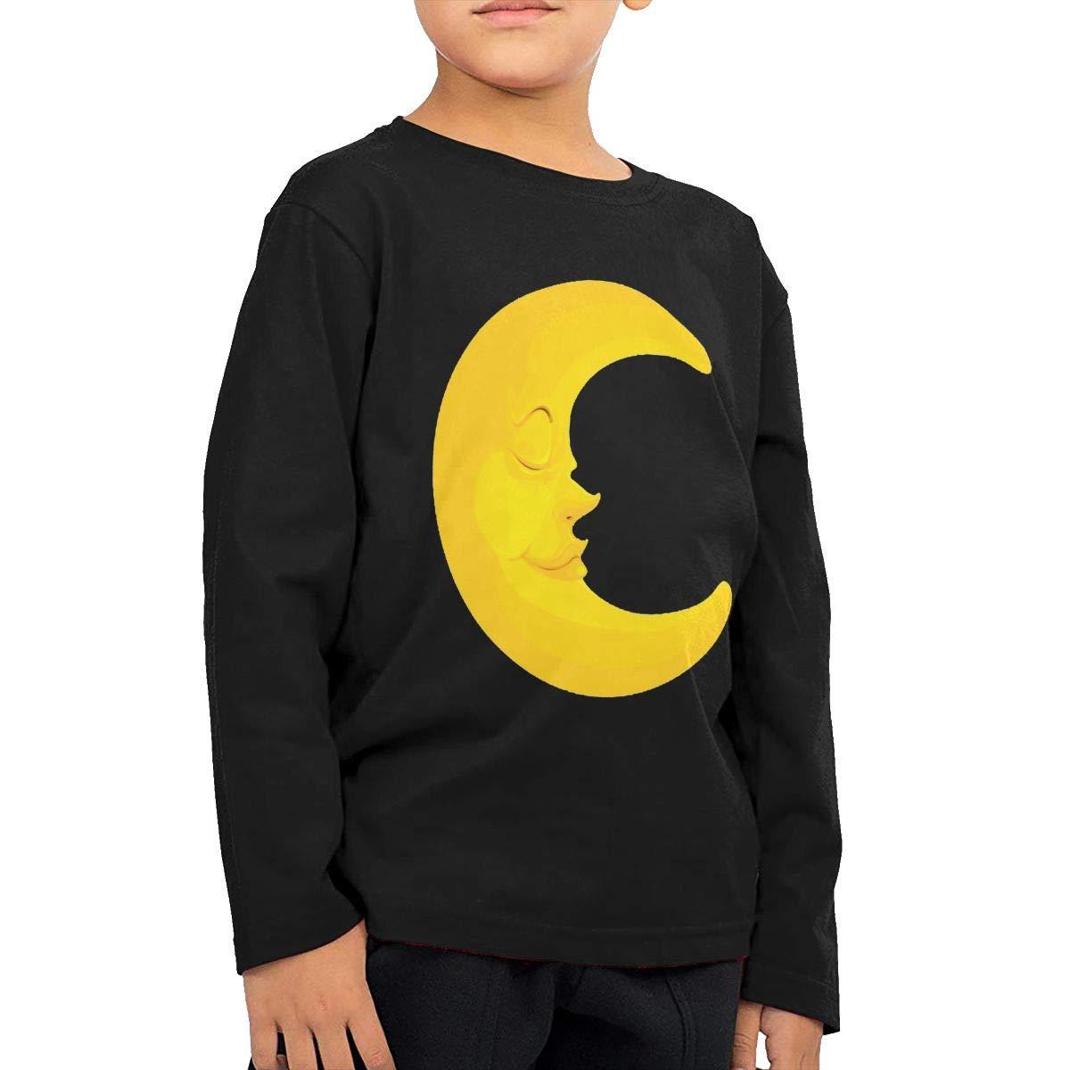 WCHUNMU Sleeping Moon Childrens Cotton Black Long Sleeve Round Neck Boys Or Girls T Shirt