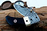 (8 6/18) SALE DKC-43 BLACK THUMB Damascus Steel Folding Pocket Knife 3.5″ Folded 6.25″ Open 7.5oz 2.25″ Blade Black Buffalo Horn Damascus Bolster