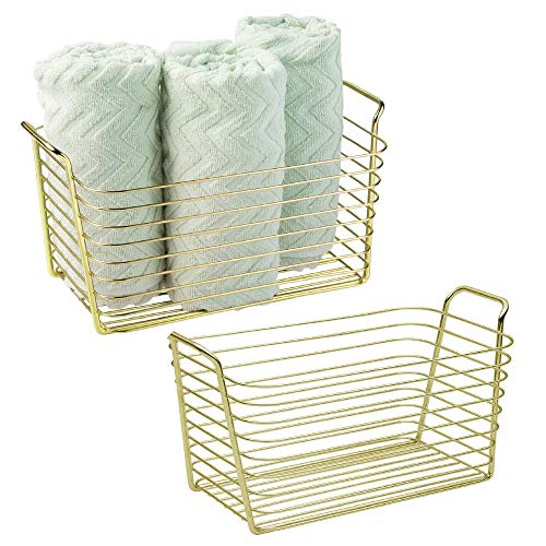 mDesign Farmhouse Metal Storage Organizer Basket Bin with Handles - Holds Hand Soaps, Body Wash, Shampoos, Lotion, Conditioners, Hand Towels, Hair Accessories, Body Spray - Medium, 2 Pack - Gold Brass ()