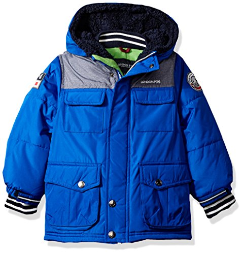 London Fog Little Boys' Heavyweight Shirt Pocket Parka Coat, Blue, 4 - Fleece Heavyweight Parka