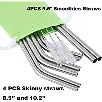 Mcool 8Pcs 4 Wide 4 Long Stainless Steel Straws for Yeti/Rtic/Ozark-8 Metal Smoothies Straws for 30&20 oz Tumblers+3 Brushes+1 Green Storage Pouch