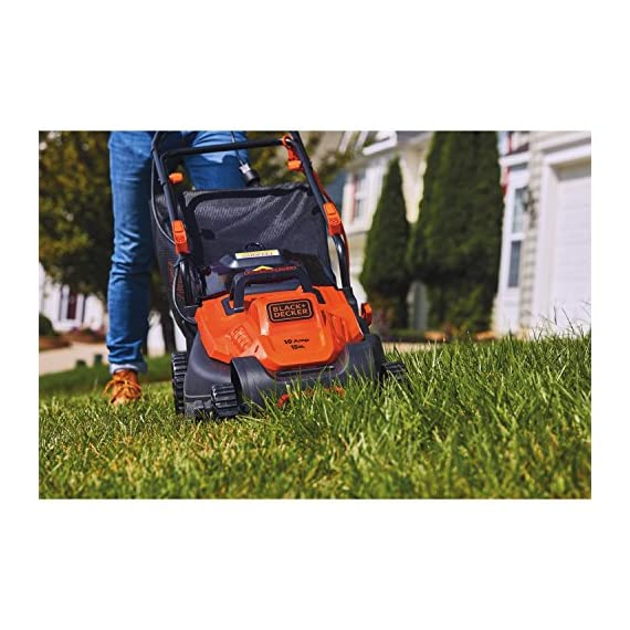 BLACK+DECKER Electric Lawn Mower, 10 -Amp, 15-Inch (BEMW472BH) 6 IMPROVED ERGONOMICS: Comfort grip handle makes the lawn mower easy to maneuver BETTER CLIPPING COLLECTION: Our winged blade achieves 30% better clipping collection NO MORE PULL CORDS: Push-button start makes starting the lawn mower a breeze