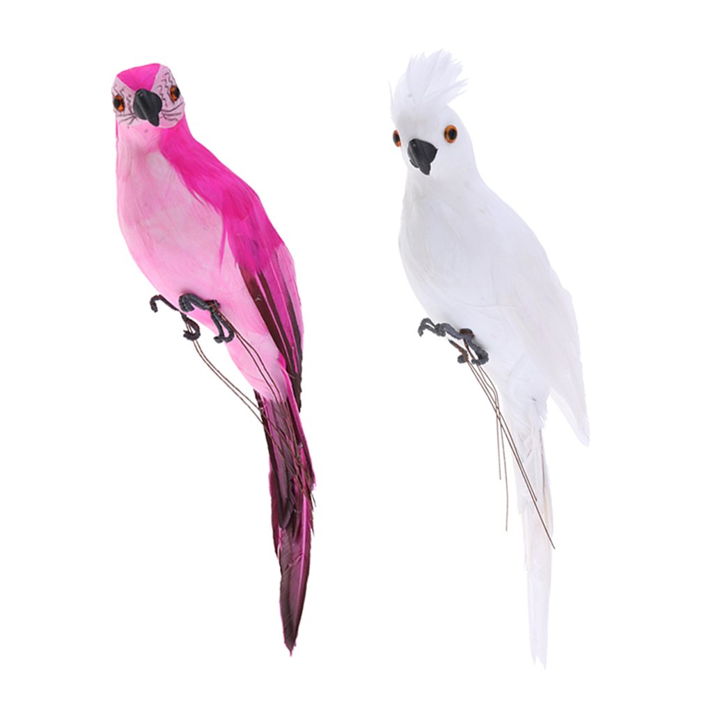 Homyl 2x Realistic Parrot Artificial Feather Bird Animal Ornament White & Rose Red