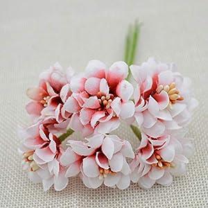 GSD2FF 6pcs Fake Flower Silk Gradient Stamen Artificial Flower Bouquet Wedding Decoration DIY Wreath Gift Scrapbooking Craft,red 66