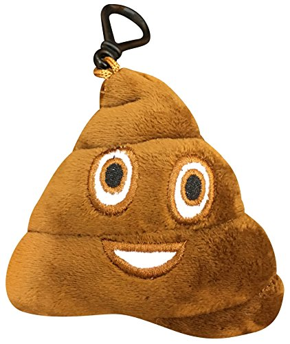 Emoji Universe: Talking Emoji Backpack Clips, Key Chains; Plush Keychains Make FUNNY SOUNDS! (Choice of Emoji - Poop) -