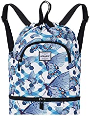 HAWEE Dry Wet Drawstring Backpack with Shoe Compartment for Women Girls Yoga String Bag for Gym/Beach/Swim Poo