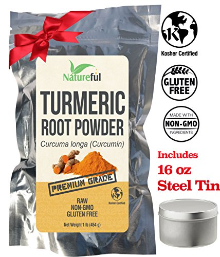 BEST Turmeric Root Powder with Curcumin: FREE Steel Tin with Lid 16 oz LIMITED TIME SPECIAL! CERTIFIED KOSHER – Premium Quality Whole 1 Pound Bag (16 oz) – 1 Pack