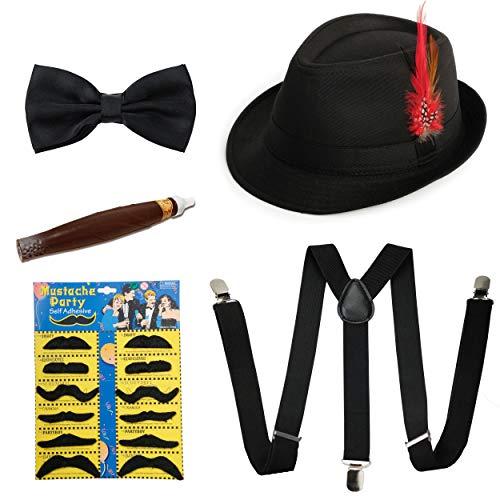 1920s Mens Accessories Manhattan Fedora Hat Suspenders Pre Tied Bowtie Toy Cigar Fake Mustache (A)