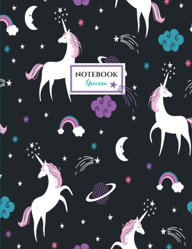 Unicorn Notebook: Unicorns Night Sky Notebook (Composition Book, Journal) (8.5 x 11 Large) ()