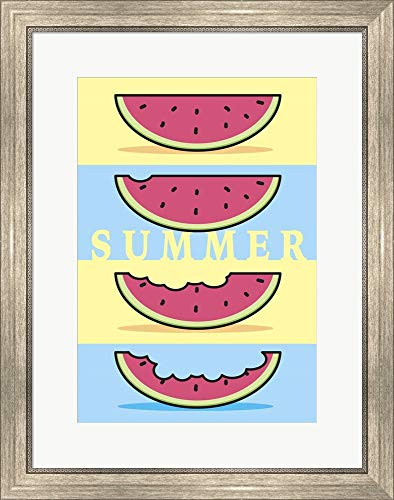 SummerFlag Watermelon Summer 1 by Jerry Gonzalez Framed Art Print Wall Picture, Silver Scoop Frame, 22 x 27 inches ()