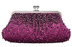 Grace Angel Women's Sequin Beading Satin Fabric Party Bag Evening Clutch Handbag GALU4046B (Pink)