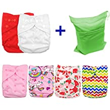 Babygoal Cloth Diaper Covers,Baby Adjustable Reusable Covers for Fitted Diapers and Prefolds, Baby Girl Clothes, 6pcs Covers+ One Free Wet Bag 6DCF01-CA